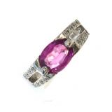 Bague Saphir rose et diamants en or blanc 18 carats Réf. 127