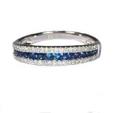 Bague Saphirs bleus et diamants en or blanc réf. 1256