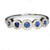 Bague Saphirs bleus et diamants en or blanc réf. 1254