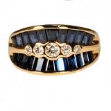 Bague Saphirs bleus baguettes et diamants or jaune réf. 1255