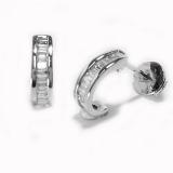 Boucles 1/2 créoles diamants baguettes or blanc, réf. 463