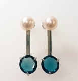 Boucles d'oreilles Topaze Blue London or blanc Réf. 1466