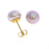 Boucles perles roses or jaune R 339
