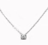 Collier solitaire diamant or blanc réf. 1035