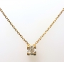 Collier solitaire diamant chaton or jaune Réf. 1460