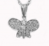 Pendentif Papillon diamants or blanc Réf. 743