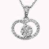 Pendentif Rond/coeur diamants or blanc réf. 896
