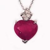 Pendentif coeur Rubis et diamants or blanc réf. 1027