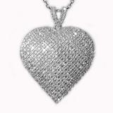 Pendentif coeur diamants or blanc Réf. 1247